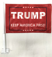 *TEMPORARILY OUT OF STOCK* Trump Keep America First KAF Red  - 12''X18'' Car Flag