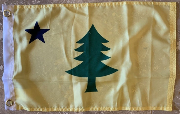 "Maine 1900 Flag With Grommets 12""X18"" Rough Tex® 100D"