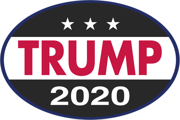 Trump 2020 Black Oval Sticker