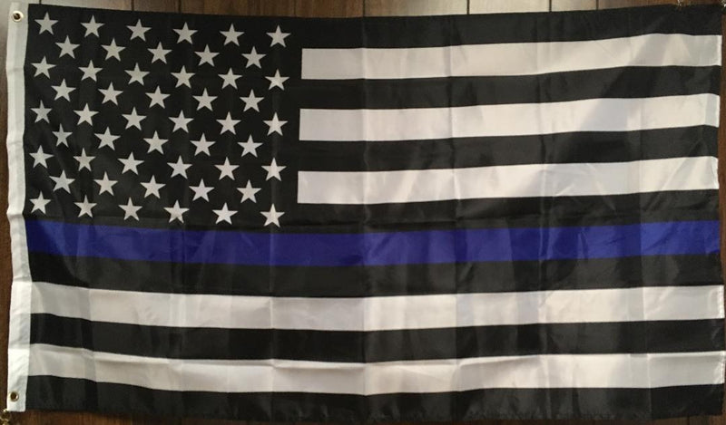 US Police Thin Blue Line Memorial American Blue Lives Matter 3'X5' 100D Flag Rough Tex ® American History