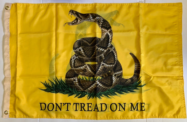 Gadsden Live Rattlesnake Don't Tread On Me Double Sided Flag 2'X3' Rough Tex® 100D
