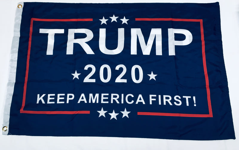 TRUMP 2020 KAF KEEP AMERICA FIRST BLUE DOUBLE SIDED  2'X3' Rough Tex® 100D Nylon