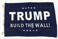 Trump Build The Wall Blue- 12''X18'' Single Sided Flag