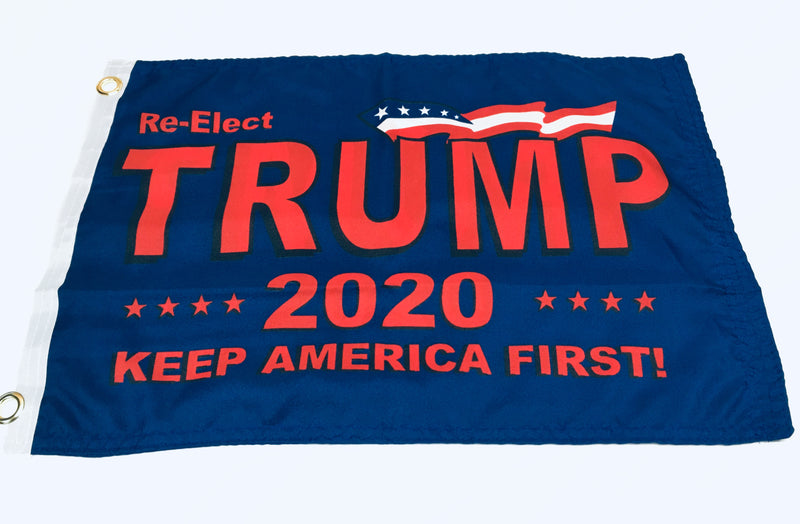 Re-Elect Trump Keep America First KAF 2020 Blue Double Sided Flag- 12''X18'' Rough Tex®