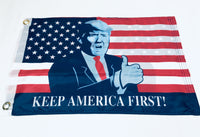 American Trump Bust Thumbs Up Double Sided Flag- 12''x18'' Rough Tex®