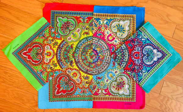 "Assorted Mosaic Patterned Bandana Head Wraps 100% Cotton 22""X22"""