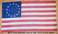 "Betsy Ross Vintage Sleeved 28""x48"" 100D American Revolution Flag Rough Tex ®"