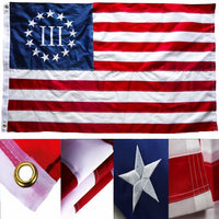 Betsy Ross III Original 3% American 13 Stars USA Flag 5x8 Feet 300D Nylon Embroidered & Sewn Stripes 100% Cotton Bunting Grommets Rough Tex ®