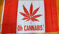 Oh Cannabis Canadian Red Leaf (Weed/Marijuana) 3'x5' 100D Flag Rough Tex ® Canada