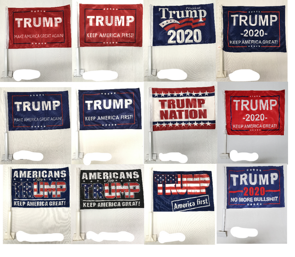 *TEMPORARILY OUT OF STOCK* Assorted Trump Car Flags Starter Pack- 12''X18''