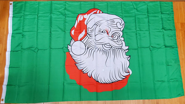 Christmas Santa Green Flag 3x5 Rough Tex 100D ® Seasonal Holiday Flags