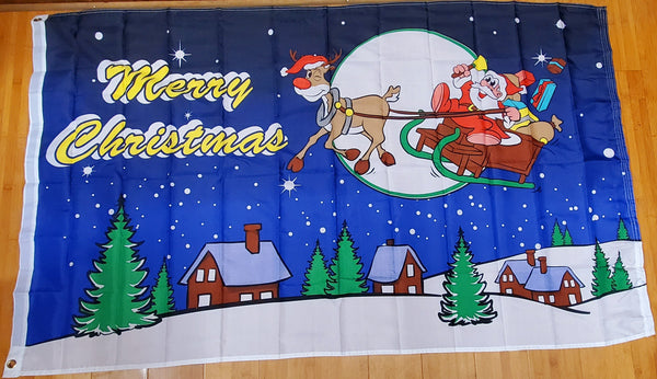 Merry Christmas Sleigh Ride Blue Rudolph & Santa Flag 3x5 Rough Tex 100D ® Seasonal Holiday Flags