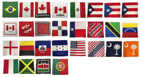 "Assorted Countries Worldwide Flag Bandana Head Wraps 100% Cotton 22""X22"""
