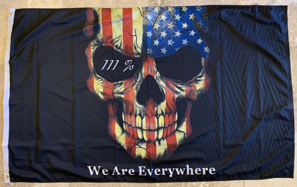 WE ARE EVERYWHERE III% AMERICAN USA SKULL FLAG 100D ROUGH TEX ® 3X5