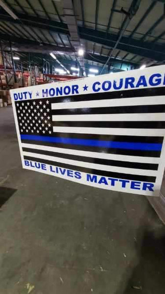 "Duty Honor Courage Police Memorial Double Sided Yard Sign 14.5""X 23"" Inches"