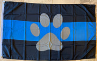 Police Blue Bar Paw Flag - 3'X5' Rough Tex® 100D