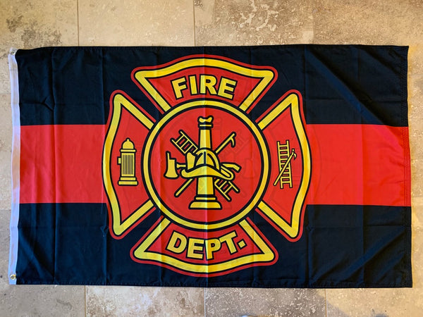 Fire Department Red Line DBLSides Flag With Grommets 12'X18' Rough Tex® 100D
