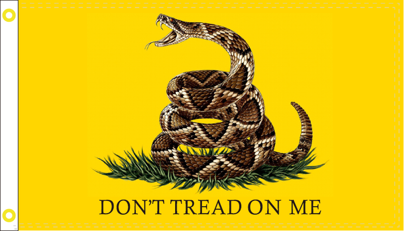 Gadsden Live Snake Don't Tread On Me 3'X5' Flag- Rough Tex 100D