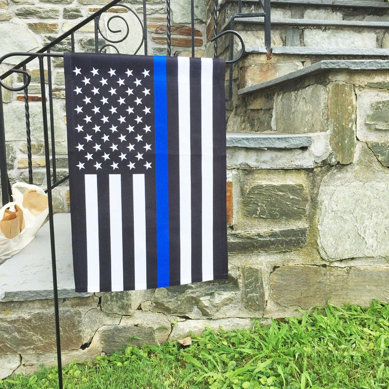 US Police Memorial Blue Line USA Garden Flag