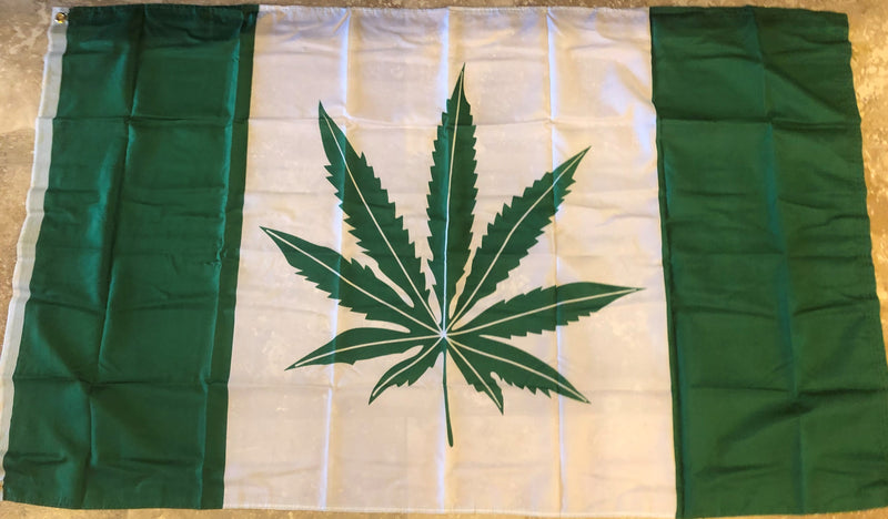 Green Leaf (Weed/Marijuana) 3'x5' 100D Flag Rough Tex ® Pot National