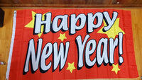 Happy New Year Red Flag 3x5 Rough Tex 100D ® Seasonal Holiday Flags