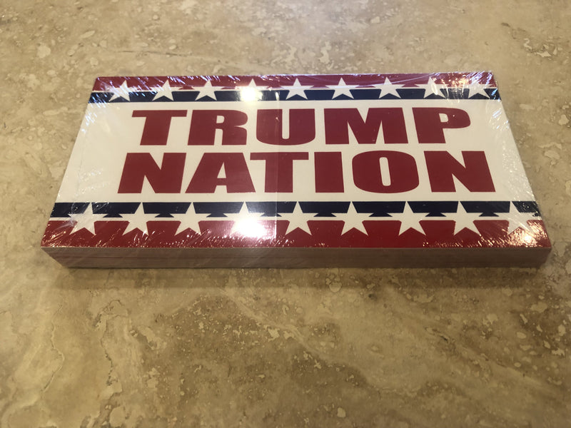 TRUMP NATION OFFICIAL BUMPER STICKER PACK OF 50 BUMPER STICKERS MADE IN USA WHOLESALE BY THE PACK OF 50!