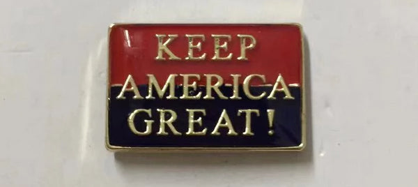 Trump KEEP AMERICA GREAT red gold blue Cloisonne Hat & Lapel Pin