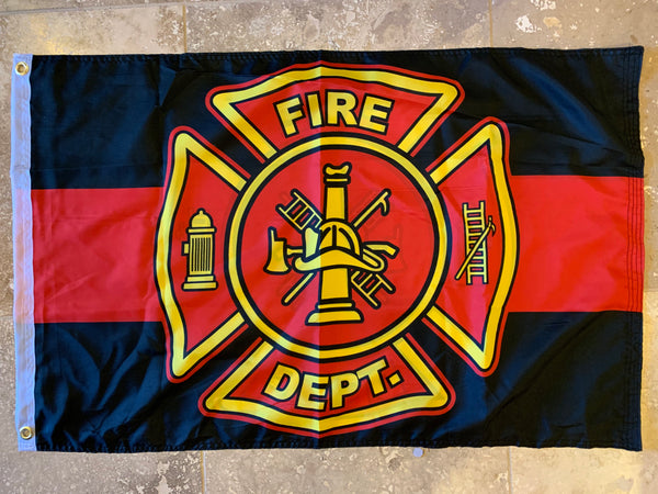 Fire Department Red Line DBL Sides Flag With Grommets 12'X18'' Rough Tex® 100D