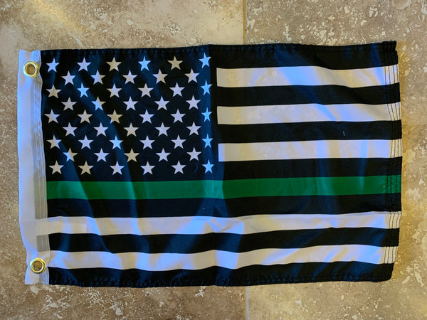 USA Green Line Flag With Grommets 12'X18' Rough Tex® 100D