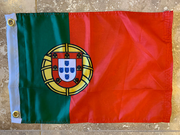 Portugal Flag With Grommets-100D 12x18 ROUGH TEX®
