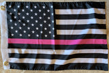 USA Pink Line Breast Cancer Survivor Memorial Flag With Grommets 12''X18'' Rough Tex® 100D