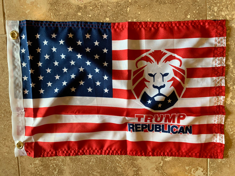 USA Flag With Trump Republican Flag with Grommets Double Sides- 12x18 Rough Tex® 100D