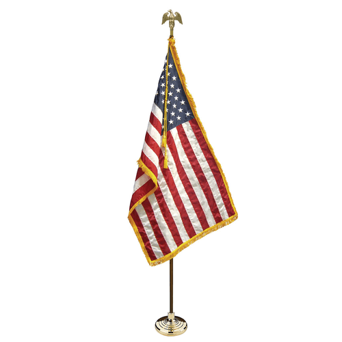 INDOOR AMERICAN OAK FLAG POLE KIT (WITH SPEAR OR EAGLE) USA OR STATE MILITARY GOLD FRINGE BASE GOLD TASSEL ROPE