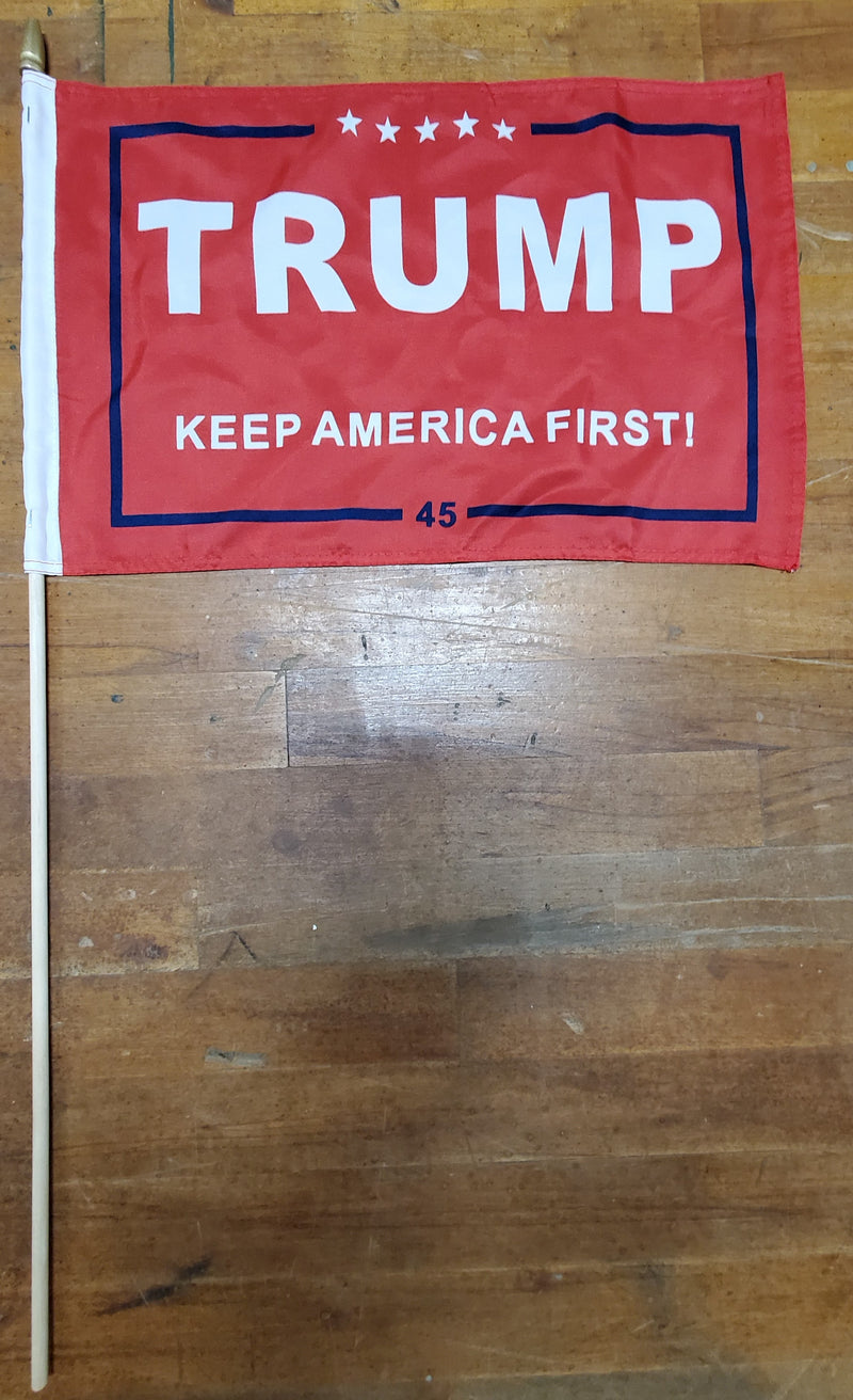 12 Stick Flags Gold Painted Wood Spear Collectors Items Red TRUMP 2020 AMERICA FIRST! - 12x18 Rough Tex ®