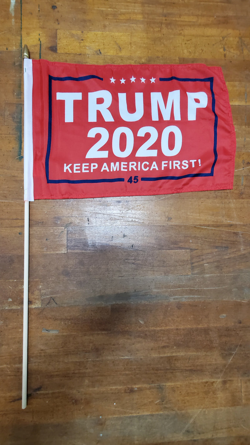 12 Stick Flags Gold Painted Wood Spear Collectors Items Red TRUMP 2020 KEEP AMERICA FIRST! - 12x18 Rough Tex ®