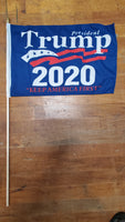 12 Stick Flags Blue PRESIDENT TRUMP 2020 KEEP AMERICA FIRST- 12x18 Rough Tex ®