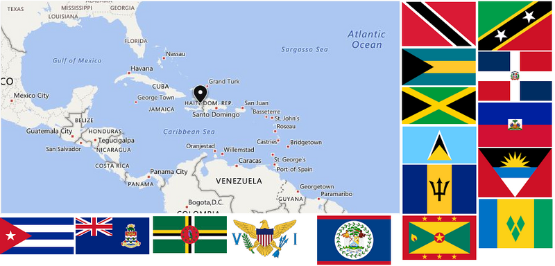 One Dozen Caribbean Nations Flags 12x18 inch stick flags Rough Tex ® 100D