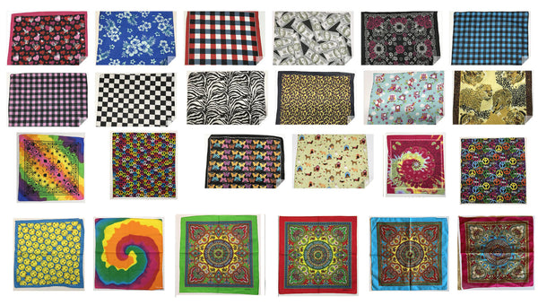 "Collection One Assorted Fashion Bandana Head Wrap In Various Patterns And Designs 100% Cotton 22""X22"""