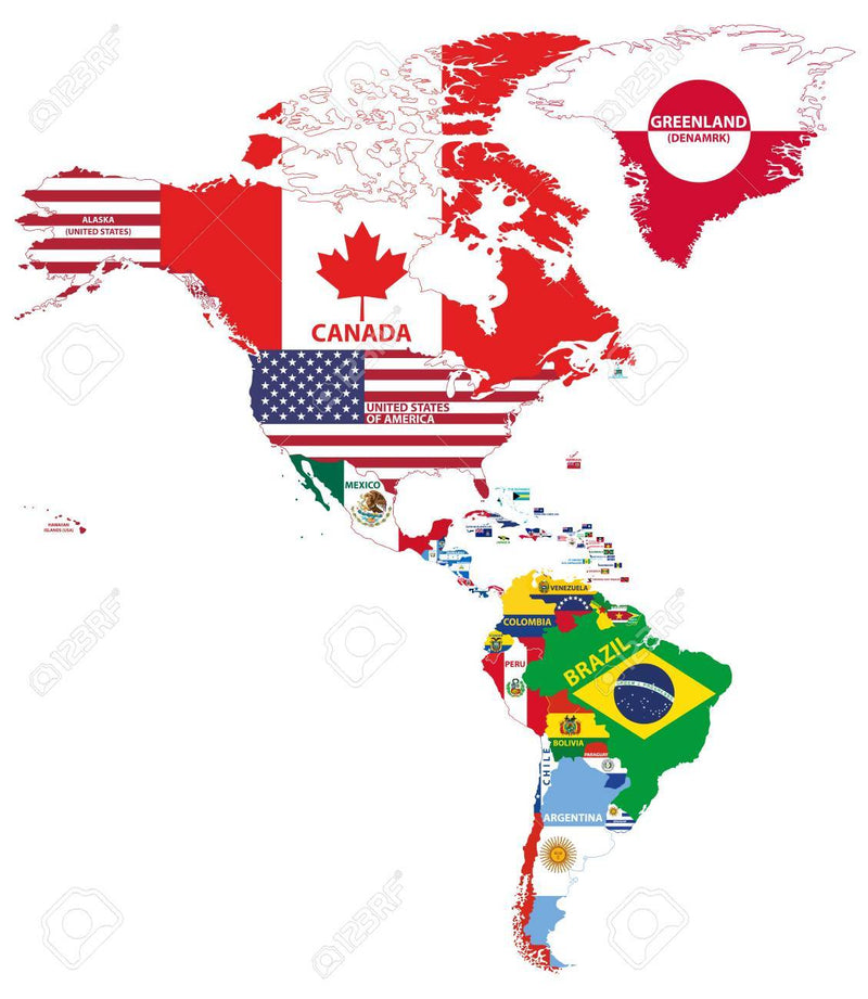 NORTH AMERICAN, SOUTH AMERICAN, CENTRAL & CARIBBEAN COUNTRIES 3'X5' ECONOMICAL FLAGS SOLD BY THE HALF DOZEN WHOLESALE
