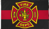 Fire Department Red Line Double Sided Flag 100D Rough Tex ® 2'x3