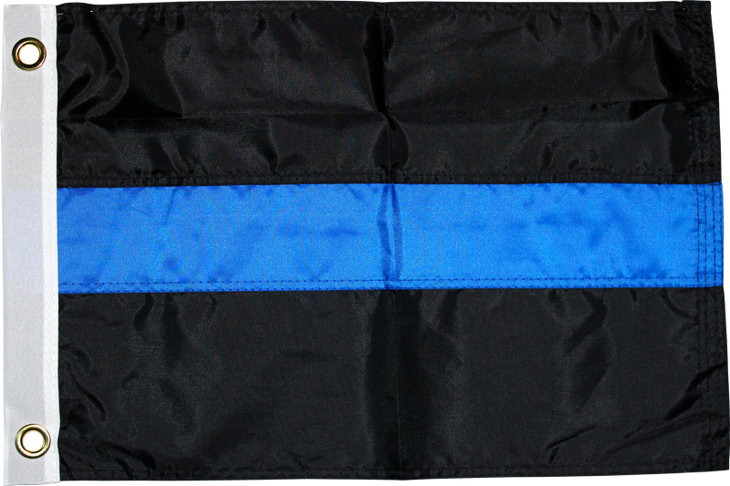 POLICE THIN BLUE LINE 210D ROUGH TEX EMBROIDERED GROMMETS 3'X5'