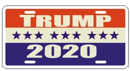 TRUMP RED WHITE & BLUE 2020 ALUMINUM EMBOSSED LICENSE PLATE