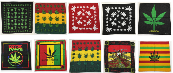 "Assorted Marijuana Weed Cannabis Themed Bandana Head Wraps 100% Cotton 22""X22"""