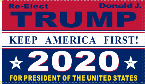 RE ELECT DONALD TRUMP 2020 KEEP AMERICA FIRST  BLUE Campaign Flag 12x18 Inches Boat Flags 100D Rough Tex ®