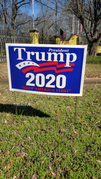 President Trump 2020 KAF Keep America First 14.5 x 23 inches plastic coated yard signs