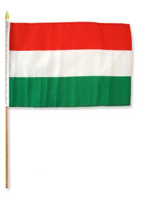 Hungary Stick Flag In Poly 4''X6''