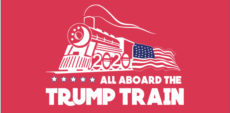 ALL ABOARD THE TRUMP TRAIN 2020 RED 3'X5' 100D ROUGH TEX ® FLAG
