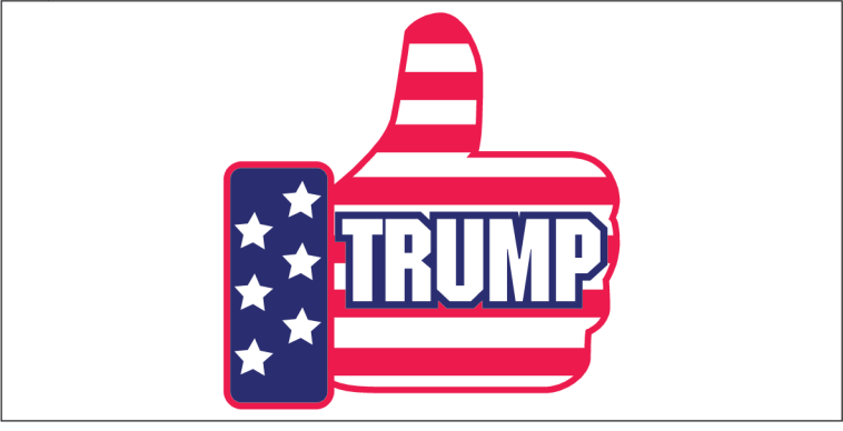 Thumbs Up Trump Stars And Stripes - Bumper Sticker