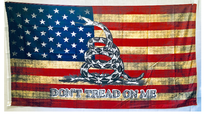 "Vintage Betsy Ross Don't Tread On Me White Snake Rough Tex® 100D Size Variants (3'X5' 2'X3 12""X18"")"