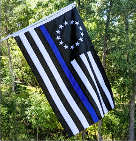 Betsy Ross Thin Blue Line Police Memorial Embroidered 3'X5' Flag Rough Tex® 150D